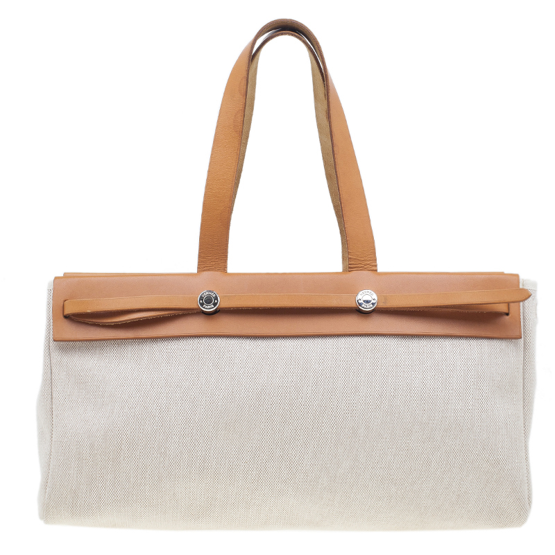 HERMES Beige Herbag Cabas GM 2 in 1 Shoulder bag