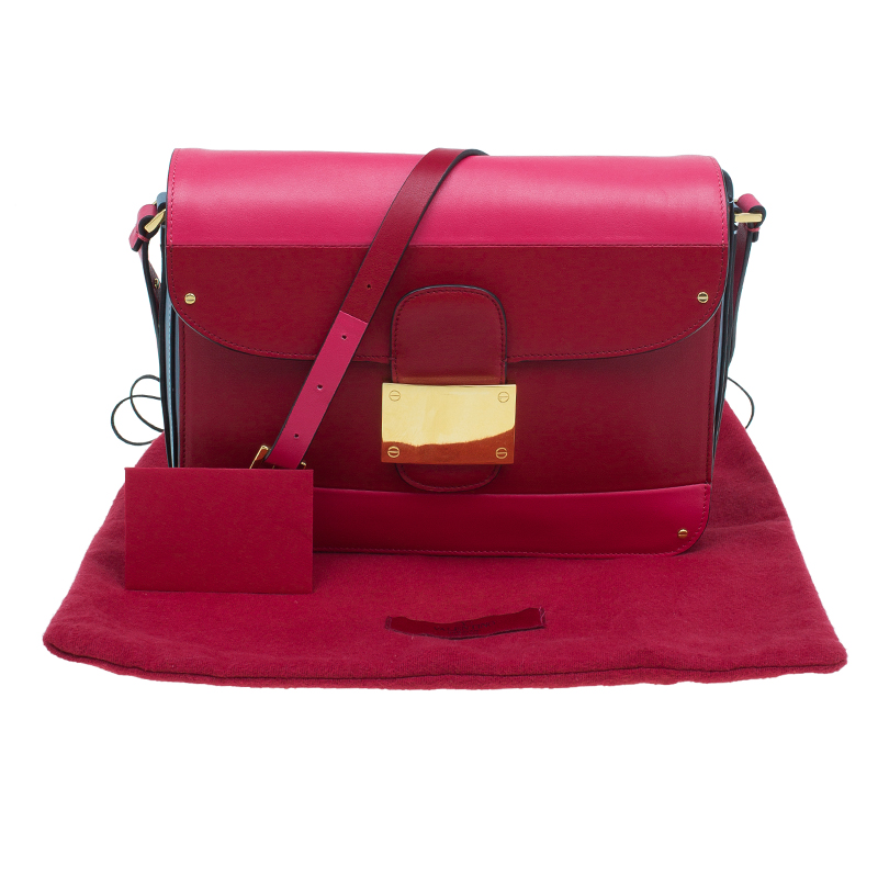 Valentino Two Tone Leather Color-Block Rivet Shoulder Bag