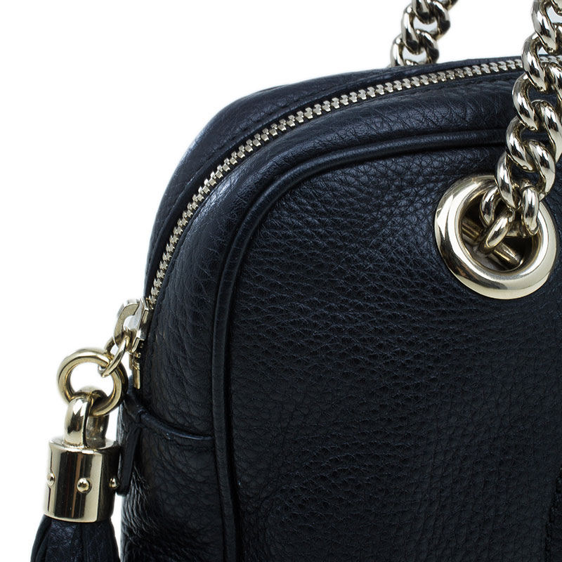 Gucci Black Leather Small Soho Chain Shoulder Bag