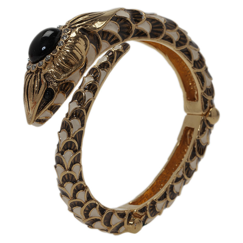 Roberto Cavalli Snake Black Crystal Bangle Bracelet