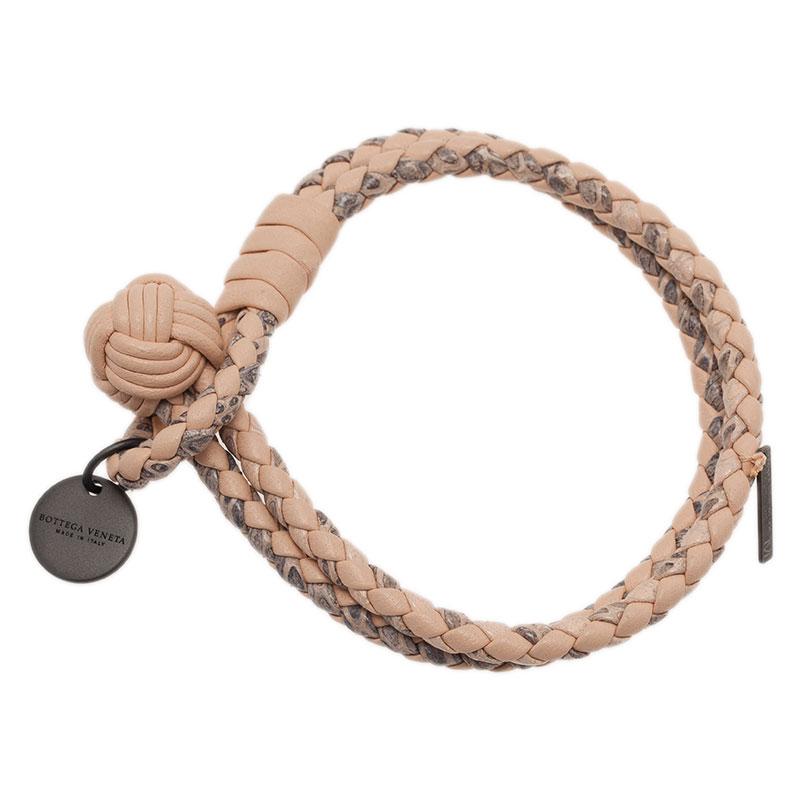 Bottega Veneta Intrecciato Nappa Pink Leather Bracelet