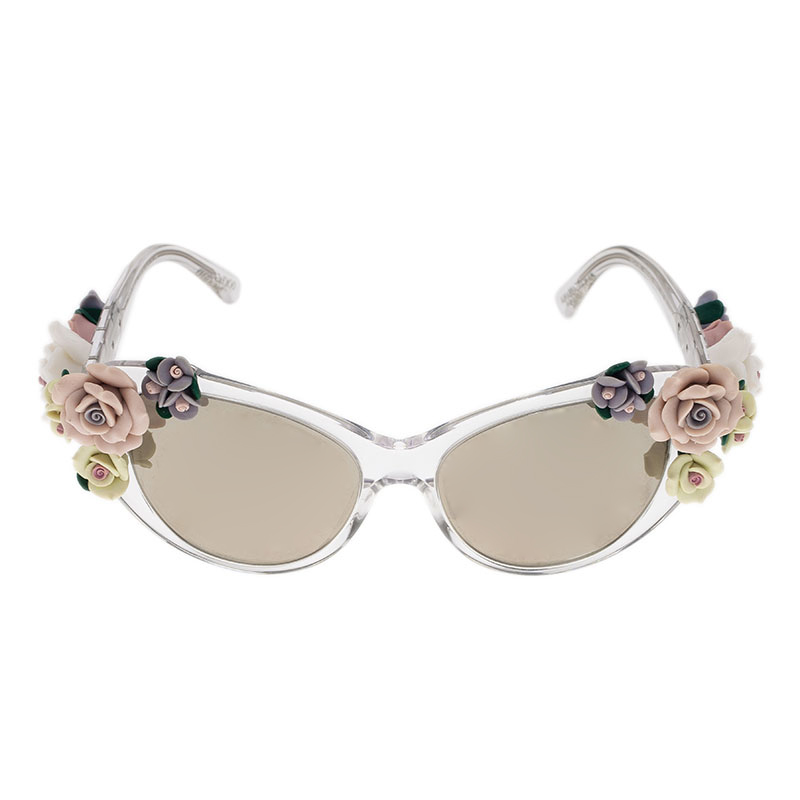 Dolce and Gabbana DG 4180 Floral Embellished Cat Eye Sunglasses