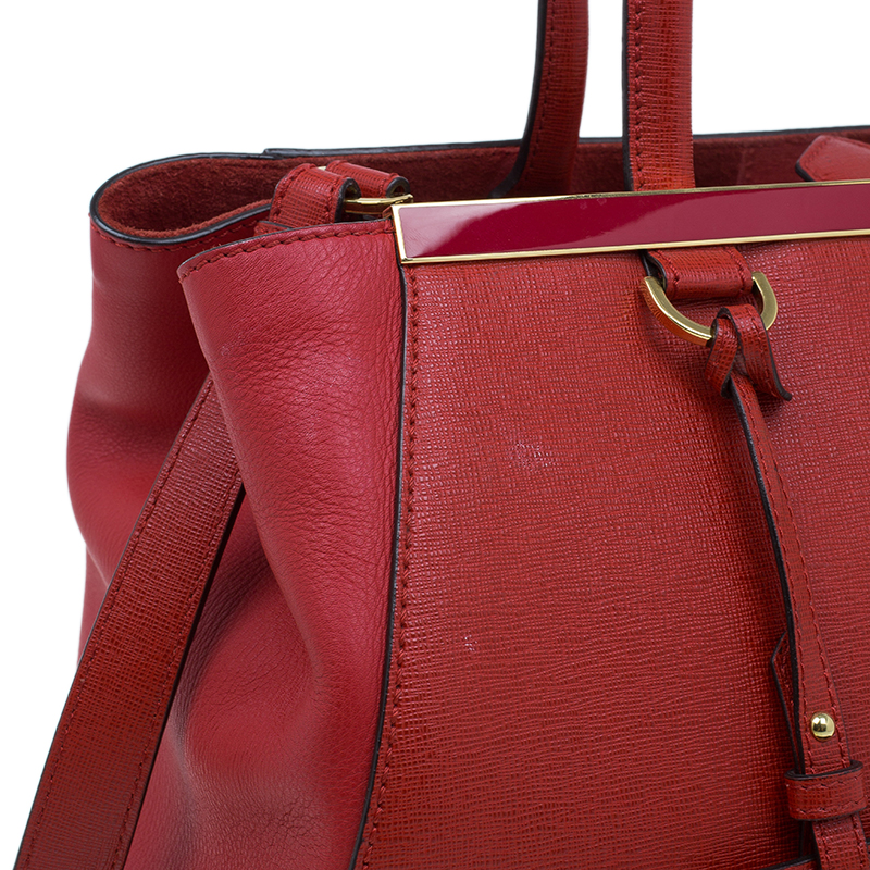 Fendi Red Saffiano Leather 2Jours Tote