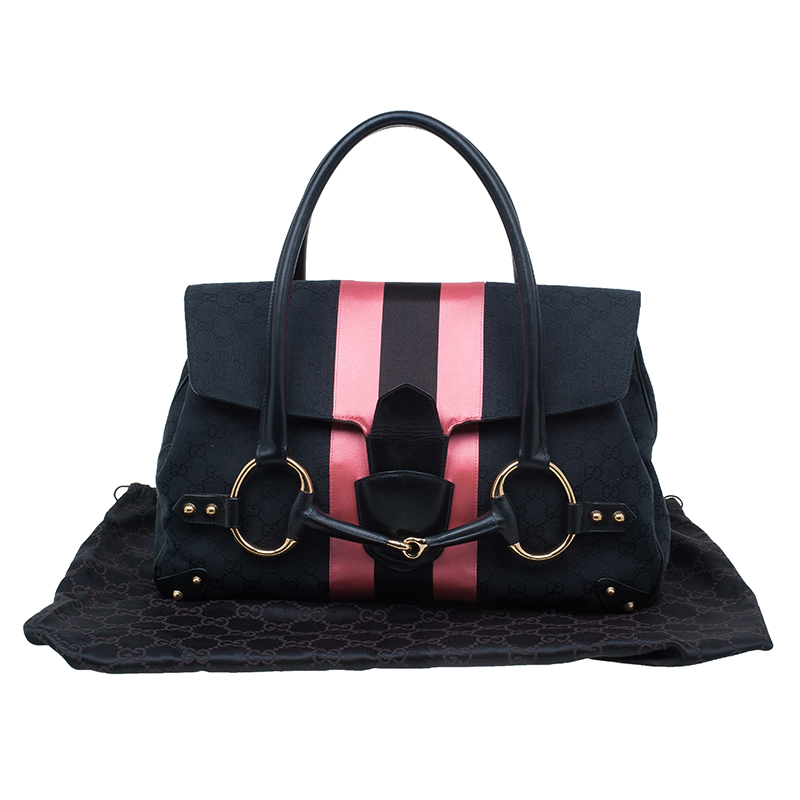 Gucci Black and Pink Horsebit Shoulder Bag