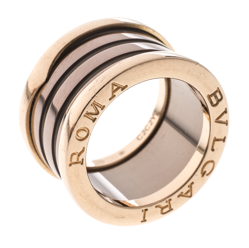 Купить со скидкой Bvlgari B.zero1 Roma 4-Band Bronze Ceramic 18k Rose Gold Ring Size 48