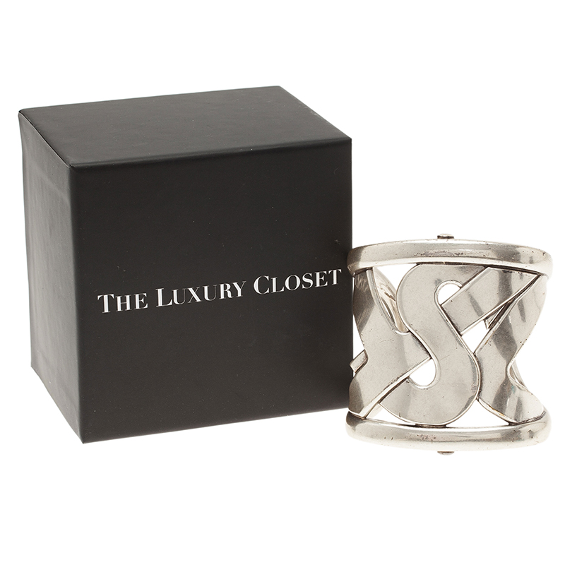 Saint Laurent Paris Silver Tone Cuff Bracelet