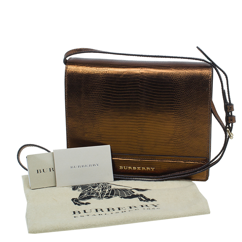Burberry Antique Gold Lizard Leather Crossbody Bag