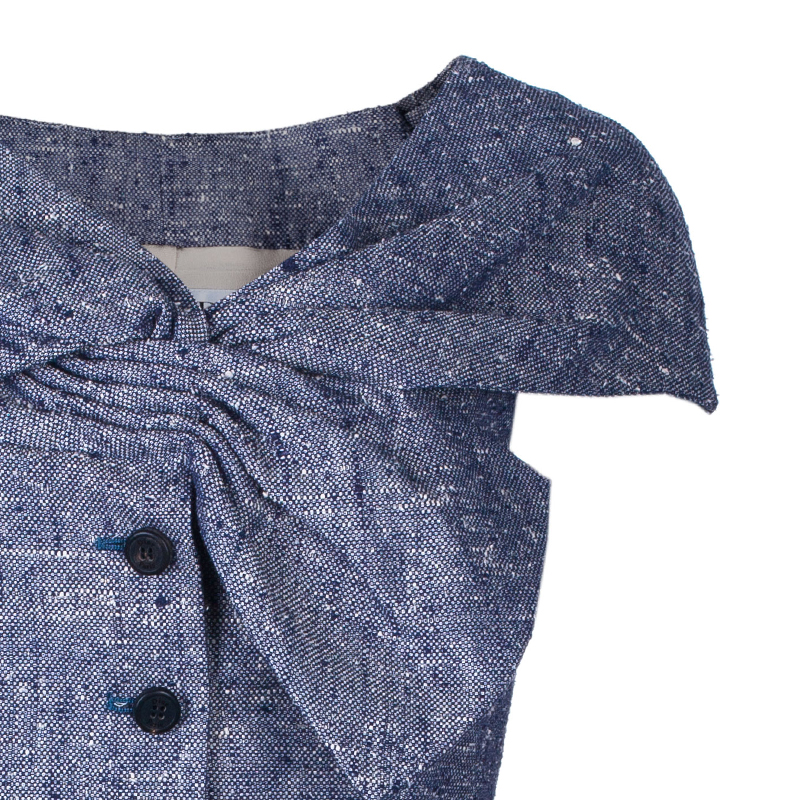 Dior Blue Sleeveless Bow Textured Jacket M