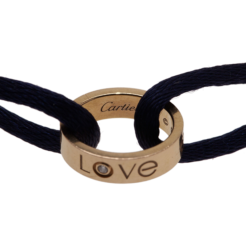 Cartier Love Charity Diamond Yellow Gold Silk Cord Bracelet