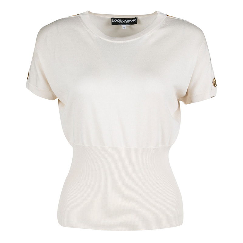 Купить со скидкой Dolce and Gabbana Beige Shoulder Button Detail Ribbed Hem Short Sleeve Sweater S