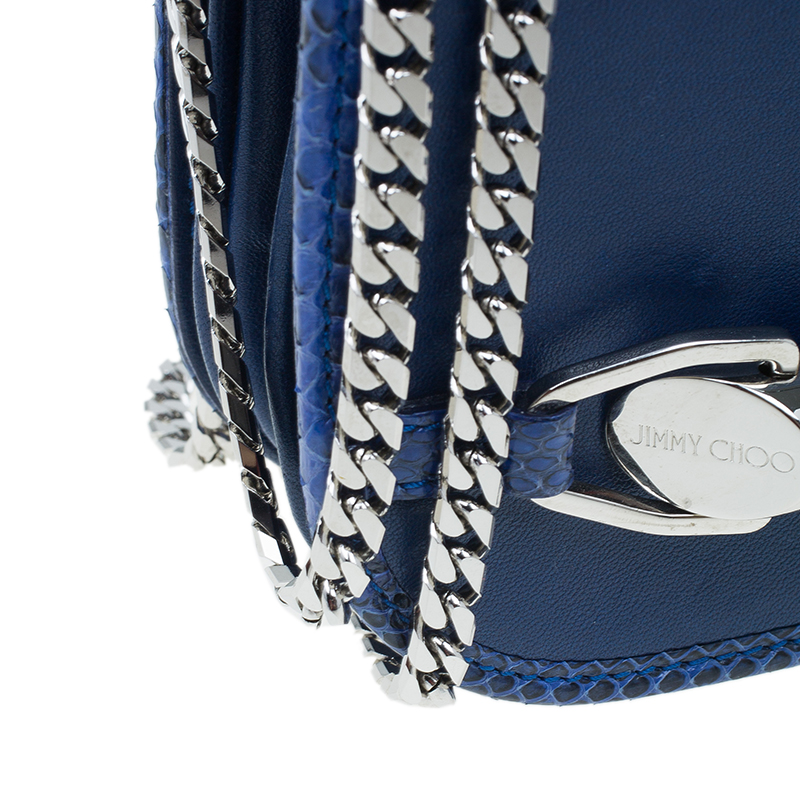 Jimmy Choo Blue Leather Snake Skin Trim Zadie Crossbody Bag