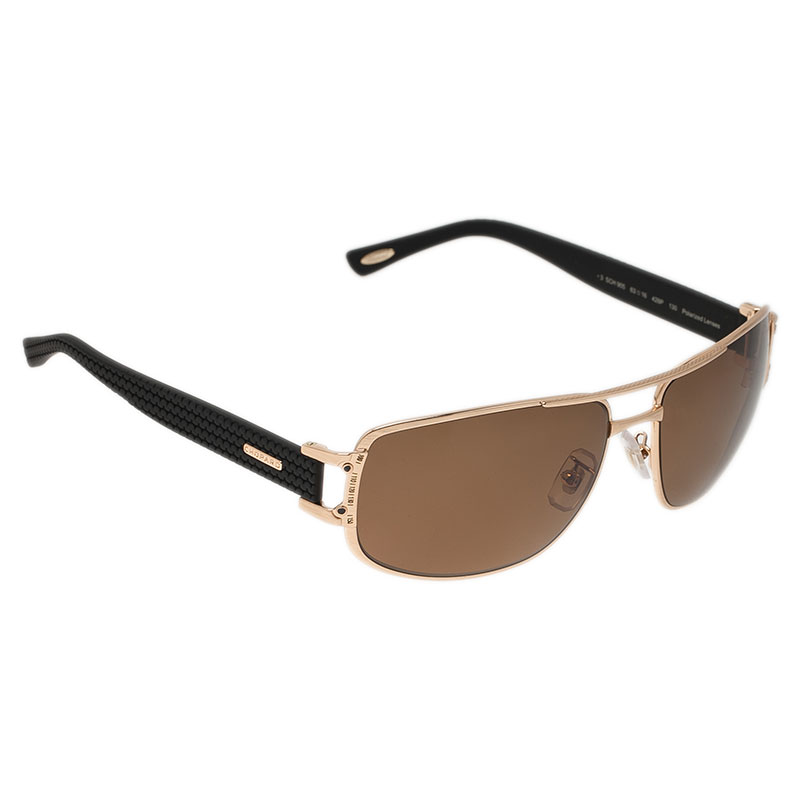 Chopard Gold and Brown SCH905 Sunglasses
