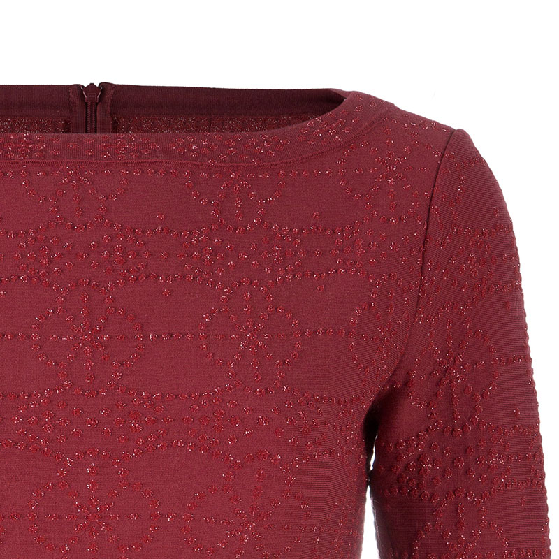 Azzedine Alaia Red Textured Peplum Top M