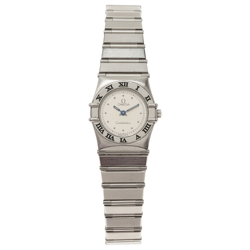 Omega Cream Stainless Steel and 18K White Gold Constellation 6168 Women's Wristwatch 23MM