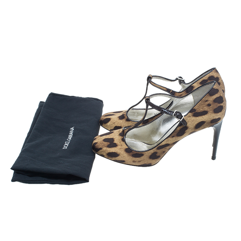 Dolce and Gabbana Leopard Canvas T-Strap Pumps Size 40
