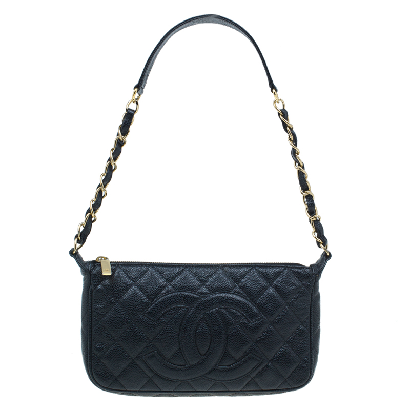 Chanel Black Quilted Caviar Leather Timeless CC Shoulder Bag