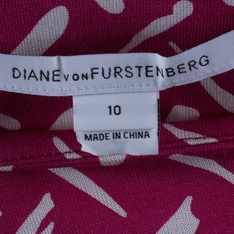 Diane Von Furstenberg Pink Printed Gabi Silk Jersey Dress L