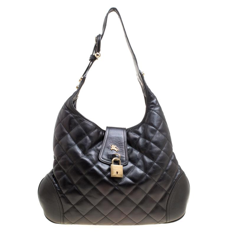 Купить со скидкой Burberry Black Quilted Leather Brooke Hobo
