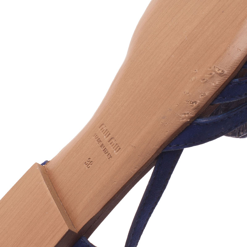 Miu Miu Blue Cutout Suede Tassel Detail Ankle Strap Flat Sandals Size 38