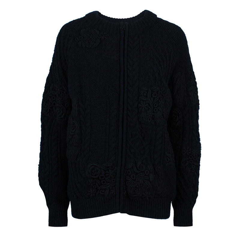 Valentino Black Embroidered Cardigan L