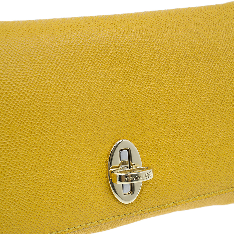 Dolce and Gabbana Yellow Leather Taormina Chain Clutch