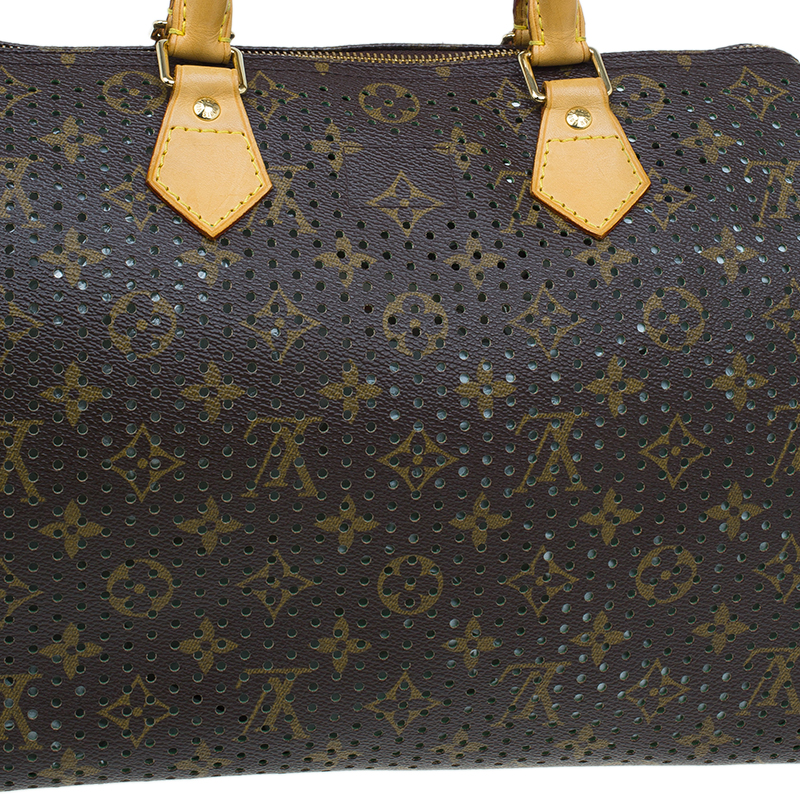 Louis Vuitton Green Monogram Perforated Canvas Limited Edition Speedy 30 Bag