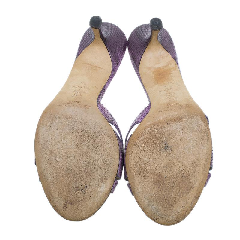Jimmy Choo Purple Watersnake Bow Slides Size 38