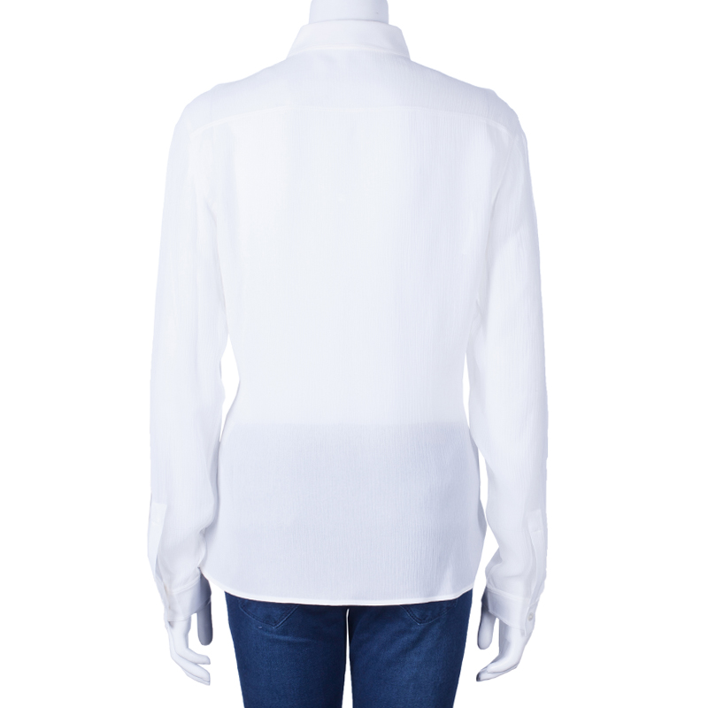 Burberry White Silk Button Down Top M