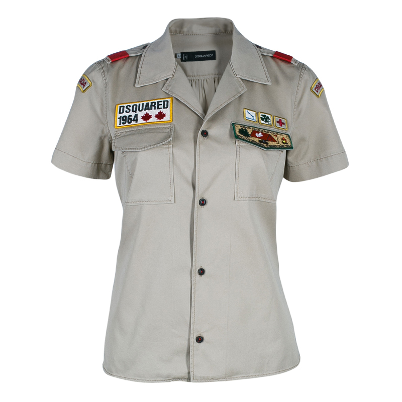 Dsquared Khaki Military Style Embroidered Short Sleeve Shirt M