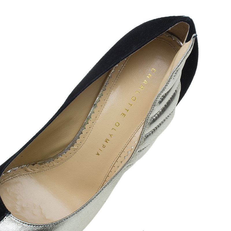 Charlotte Olympia Two Tone Leather Mercury Platform Pumps Size 39