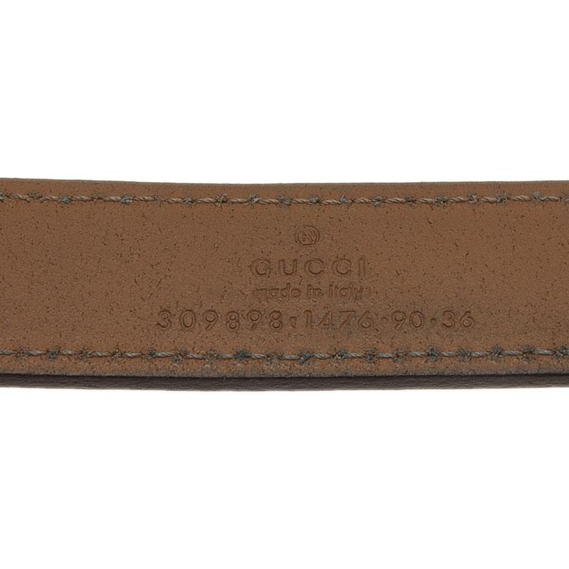 Gucci Brown Leather Horsebit Skinny Belt 90CM