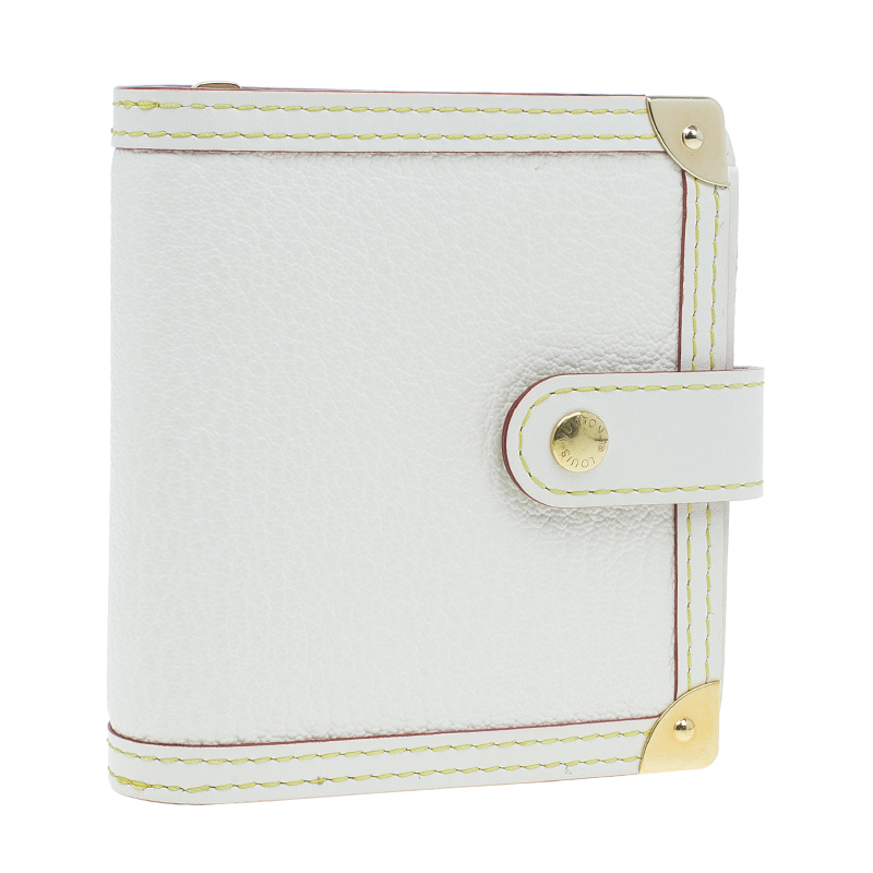 Louis Vuitton White Leather Suhali Compact Wallet