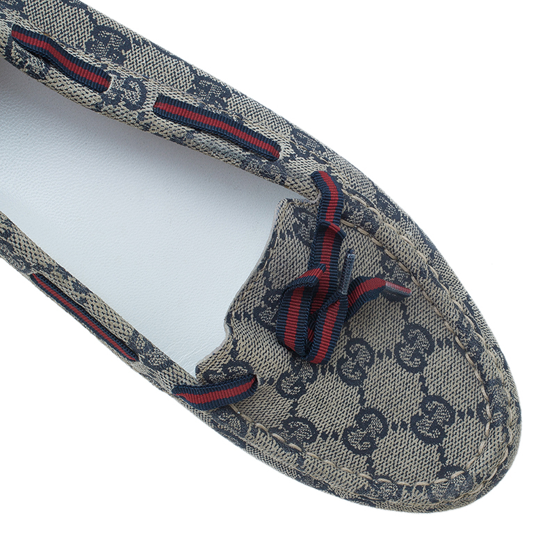 Gucci Navy Guccissima Canvas Loafers Size 38
