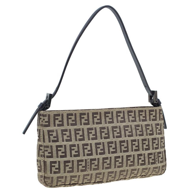 Fendi Brown Zucchino Mini Shoulder Bag