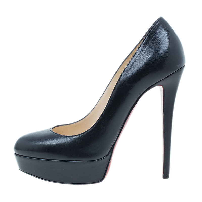 Christian Louboutin Black Leather Bianca Platform Pumps Size 38