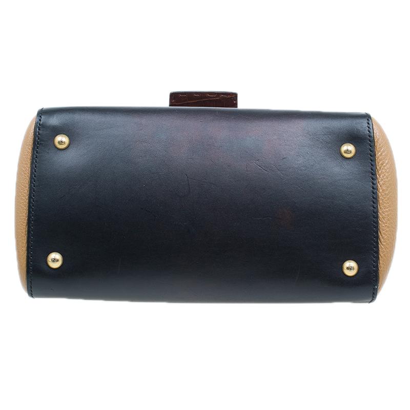 Fendi Tri Color Croc and Leather Silvana Shoulder Bag
