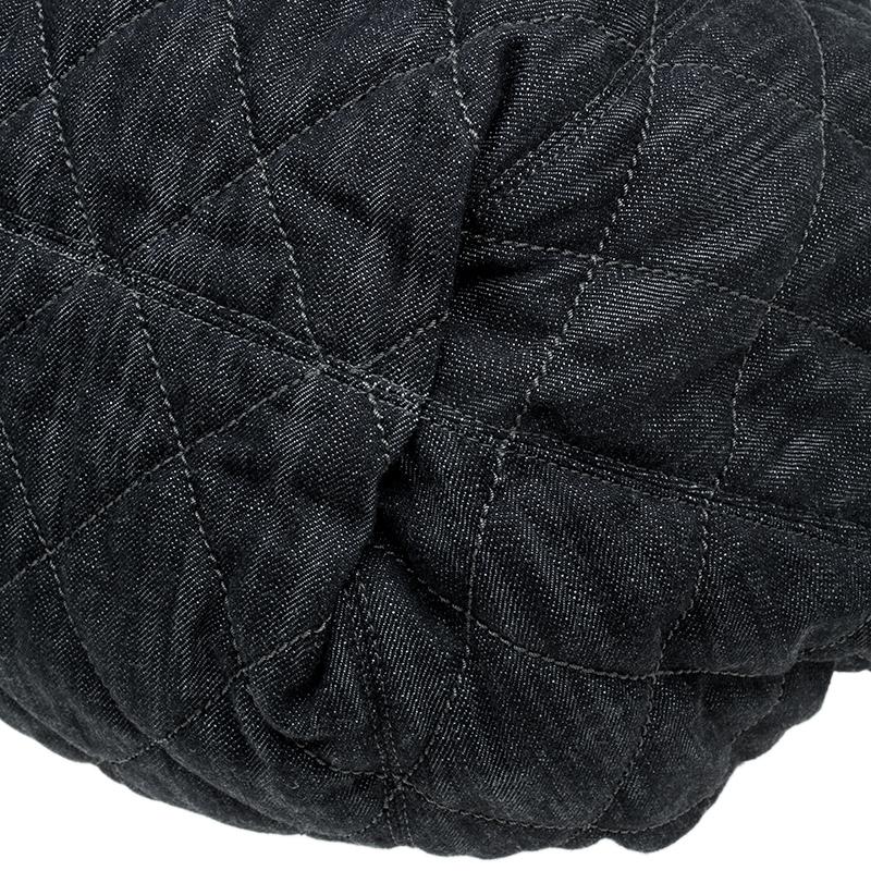 Chanel Black Denim XL Coco Cabas Spirit Hobo Bag