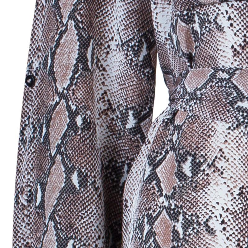 Diane von Furstenberg Brown Snake Print Silk Polly Dress L
