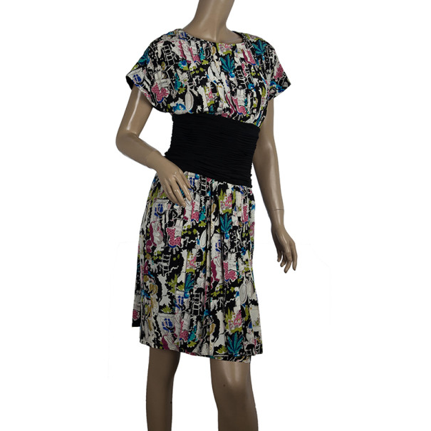 Chanel Ruched Waist Printed Dress S