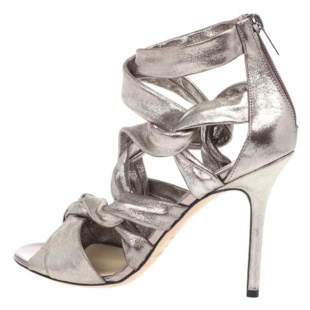 Jimmy Choo Metallic Suede Knotted Kemble Sandals Size 39