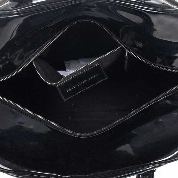 Balenciaga Black Patent Leather Bowling Bag