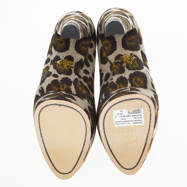 Charlotte Olympia Greta Leopard Print Canvas Platform Pumps Size 41