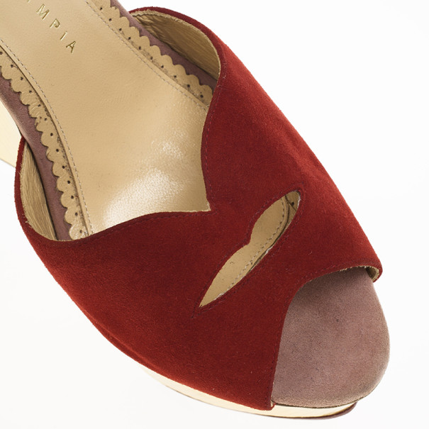 Charlotte Olympia Red Suede Pucker Up Platform Ankle Strap Wedge Sandals Size 40