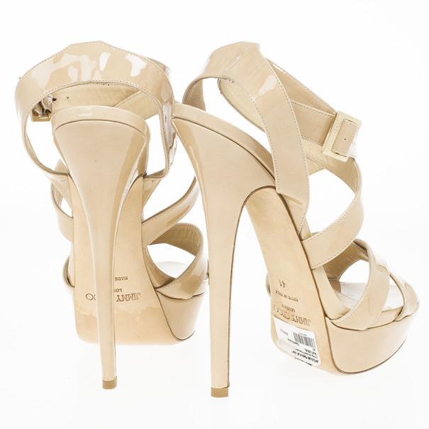 Jimmy Choo Nude Patent Louisa Crisscross Platform Sandals Size 41