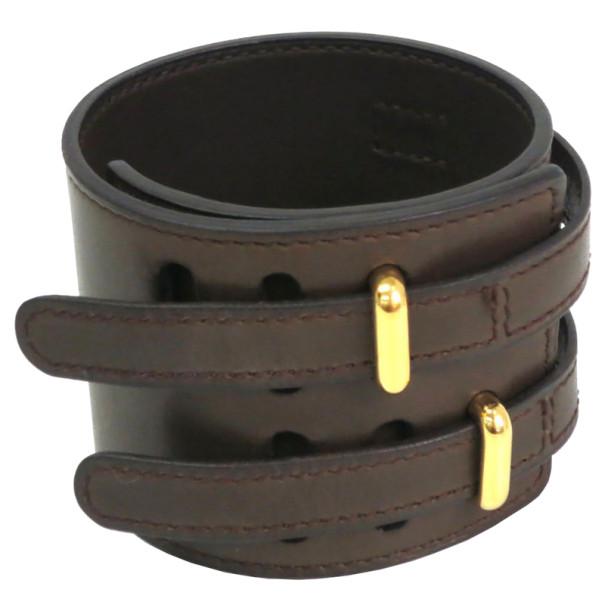 Hermes Dark Brown Leather Wide Bracelet