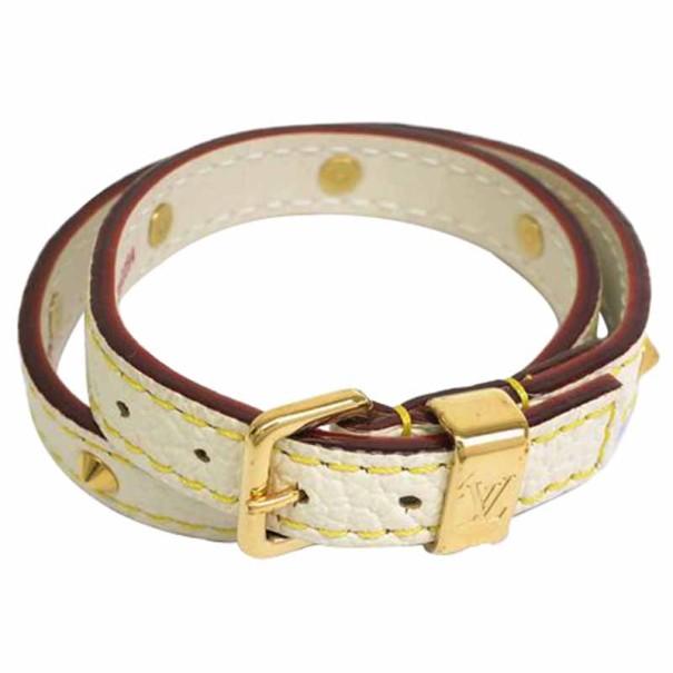 Louis Vuitton Double Coiled Suhali White Leather Bracelet