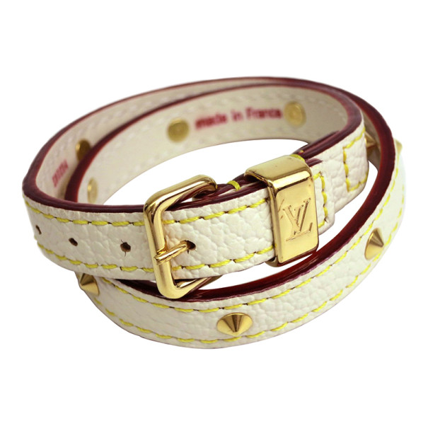 Louis Vuitton Double Coiled Suhali White Leather Bracelet