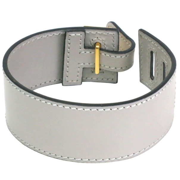 Hermes Grey Leather Bracelet