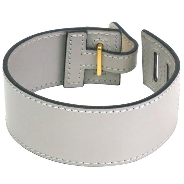 Hermes Grey Leather Bracelet