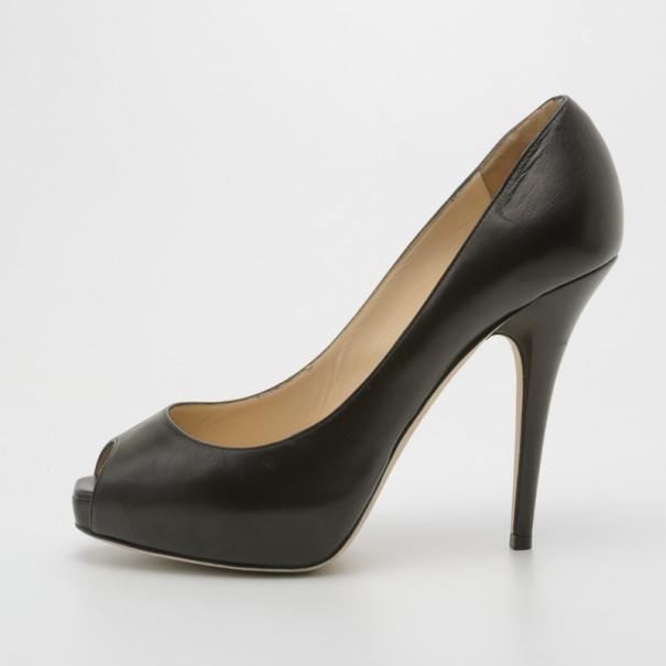 Jimmy Choo Black Leather Comet Peep Toe Pumps Size 38.5